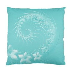 Cyan Abstract Flowers Cushion Case (one Side) by BestCustomGiftsForYou