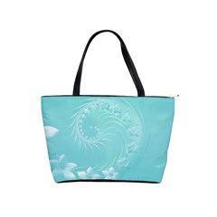 Cyan Abstract Flowers Large Shoulder Bag by BestCustomGiftsForYou