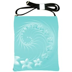 Cyan Abstract Flowers Shoulder Sling Bag