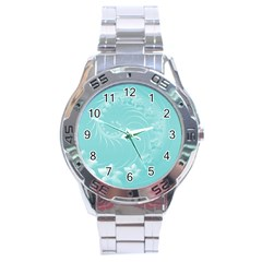 Cyan Abstract Flowers Stainless Steel Watch (men s) by BestCustomGiftsForYou