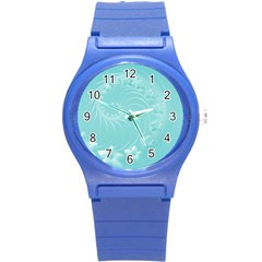 Cyan Abstract Flowers Plastic Sport Watch (Small) by BestCustomGiftsForYou
