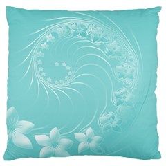 Cyan Abstract Flowers Large Cushion Case (one Side) by BestCustomGiftsForYou