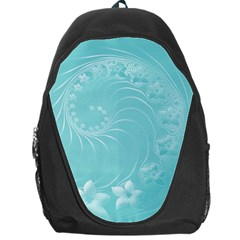 Cyan Abstract Flowers Backpack Bag by BestCustomGiftsForYou