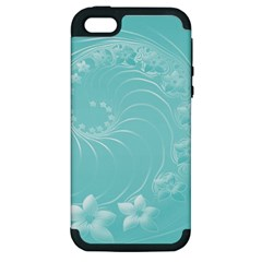 Cyan Abstract Flowers Apple Iphone 5 Hardshell Case (pc+silicone) by BestCustomGiftsForYou