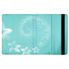 Cyan Abstract Flowers Apple Ipad 2 Flip Case by BestCustomGiftsForYou
