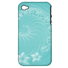 Cyan Abstract Flowers Apple Iphone 4/4s Hardshell Case (pc+silicone) by BestCustomGiftsForYou