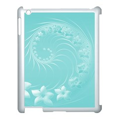 Cyan Abstract Flowers Apple Ipad 3/4 Case (white) by BestCustomGiftsForYou