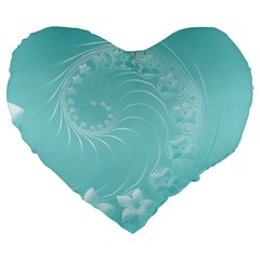Cyan Abstract Flowers 19  Premium Heart Shape Cushion by BestCustomGiftsForYou