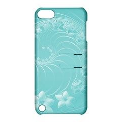 Cyan Abstract Flowers Apple Ipod Touch 5 Hardshell Case With Stand
