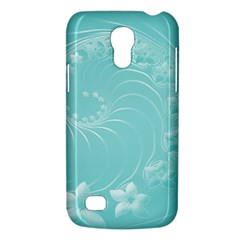 Cyan Abstract Flowers Samsung Galaxy S4 Mini Hardshell Case  by BestCustomGiftsForYou