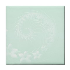 Pastel Green Abstract Flowers Ceramic Tile
