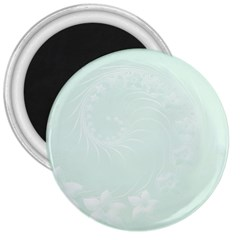 Pastel Green Abstract Flowers 3  Button Magnet