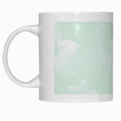 Pastel Green Abstract Flowers White Coffee Mug by BestCustomGiftsForYou