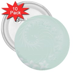 Pastel Green Abstract Flowers 3  Button (10 pack)