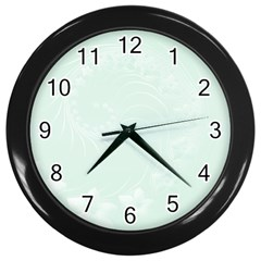Pastel Green Abstract Flowers Wall Clock (Black)