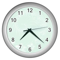 Pastel Green Abstract Flowers Wall Clock (Silver)