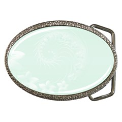 Pastel Green Abstract Flowers Belt Buckle (Oval)