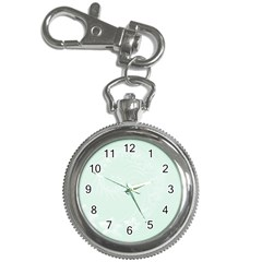 Pastel Green Abstract Flowers Key Chain & Watch