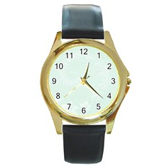 Pastel Green Abstract Flowers Round Metal Watch (Gold Rim)