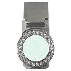 Pastel Green Abstract Flowers Money Clip (CZ)