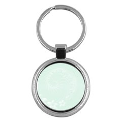 Pastel Green Abstract Flowers Key Chain (Round)