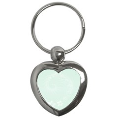 Pastel Green Abstract Flowers Key Chain (Heart)