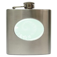 Pastel Green Abstract Flowers Hip Flask by BestCustomGiftsForYou