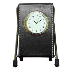 Pastel Green Abstract Flowers Stationery Holder Clock