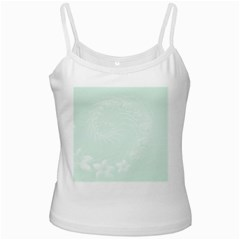 Pastel Green Abstract Flowers White Spaghetti Top by BestCustomGiftsForYou