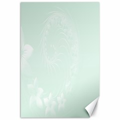Pastel Green Abstract Flowers Canvas 12  X 18  (unframed) by BestCustomGiftsForYou