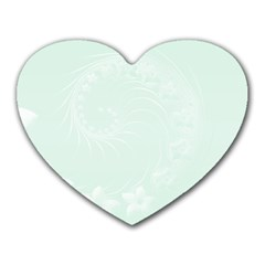 Pastel Green Abstract Flowers Mouse Pad (heart) by BestCustomGiftsForYou