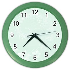 Pastel Green Abstract Flowers Wall Clock (Color)