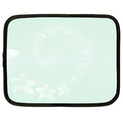 Pastel Green Abstract Flowers Netbook Case (Large)