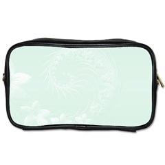 Pastel Green Abstract Flowers Travel Toiletry Bag (two Sides) by BestCustomGiftsForYou
