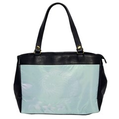 Pastel Green Abstract Flowers Oversize Office Handbag (one Side)