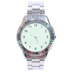Pastel Green Abstract Flowers Stainless Steel Watch (men s) by BestCustomGiftsForYou