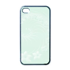 Pastel Green Abstract Flowers Apple iPhone 4 Case (Black)