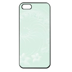Pastel Green Abstract Flowers Apple iPhone 5 Seamless Case (Black)