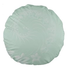 Pastel Green Abstract Flowers 18  Premium Round Cushion