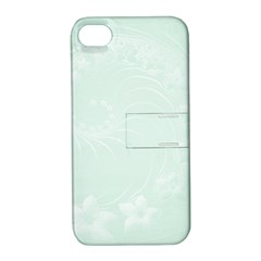 Pastel Green Abstract Flowers Apple Iphone 4/4s Hardshell Case With Stand by BestCustomGiftsForYou