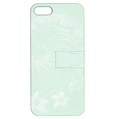 Pastel Green Abstract Flowers Apple Iphone 5 Hardshell Case With Stand by BestCustomGiftsForYou