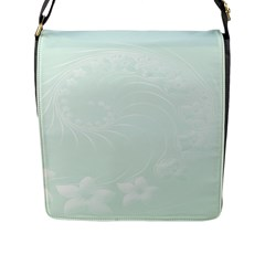 Pastel Green Abstract Flowers Flap Closure Messenger Bag (Large)