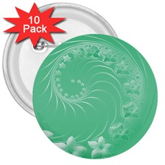 Light Green Abstract Flowers 3  Button (10 Pack) by BestCustomGiftsForYou