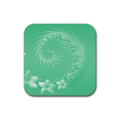 Light Green Abstract Flowers Drink Coaster (square) by BestCustomGiftsForYou