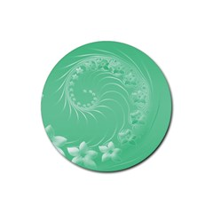 Light Green Abstract Flowers Drink Coaster (round) by BestCustomGiftsForYou