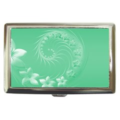 Light Green Abstract Flowers Cigarette Money Case