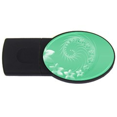 Light Green Abstract Flowers 2gb Usb Flash Drive (oval) by BestCustomGiftsForYou