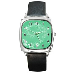 Light Green Abstract Flowers Square Leather Watch by BestCustomGiftsForYou