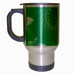 Light Green Abstract Flowers Travel Mug (silver Gray) by BestCustomGiftsForYou