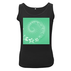 Light Green Abstract Flowers Womens  Tank Top (Black) by BestCustomGiftsForYou